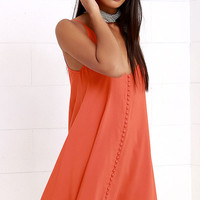 Cute as a Button Orange Swing Dress
