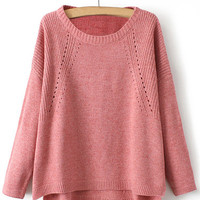 Casual Long Sleeve Pink Sweater