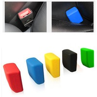 Car Styling Safety Seat Belt Buckle Protective Cover Silica Gel 5 Colors Anti-Scratch Black Dust Prevention Car Accessories