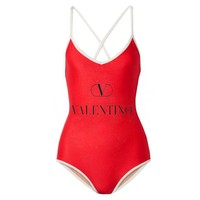 Valentino Summer Popular Women Print One Piece Bikini Swimsuit Bodysuit Red