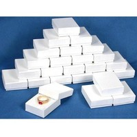 """25 White Swirl Cotton Charm Jewelry Boxes Gift Display 2 1/8"""""""