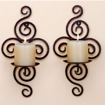 New Home Candlestick Holders Handmade Iron Hanging Wall Sconce Candle Holder Shelf Furnishing Articles Decoration Valentine Gift