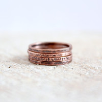 Stacking Rings Set Hammered Oxidized Copper Layering Thin Rings Minimalist Rustic Bohemian Dainty Jewelry Handcrafted