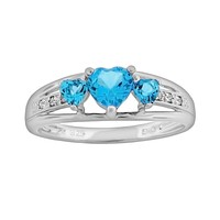 Sterling Silver Blue Topaz & Diamond Accent Heart 3-Stone Ring