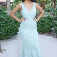 Here To Wow Shimmer Mint Lace Maxi Dress