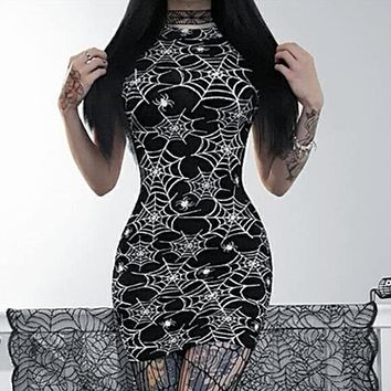 Women's New Digital Print Cobweb Sleeveless Dress