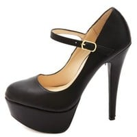 Anne Michelle Mary Jane Platform Pumps by Charlotte Russe - Black