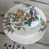 Vintage Royal Albert Bone China Teacup Flower of the Month Series Holly December Birthday Gift Cottage Chic Floral Tea Cup Cup and Saucer