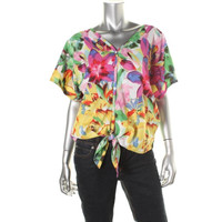 Jessica Simpson Womens Floral Print Open Back Button-Down Top