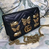 DCCK6HW Gucci' Women Fashion Genuine Leather Cowhide Metal Butterfly Insect Rivet Single Shoulder Messenger Bag Chain Small Square Bag
