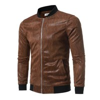 Fall Winter Stylish Printing Stand Collar PU Leather Jackets for Men