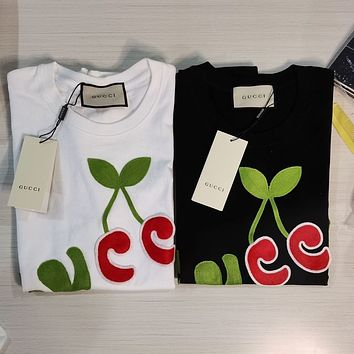 GUCCI Embroidered with cherry letters on GG cloth T-shirt
