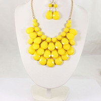 Yellow Anthropologie Bib Necklace, Statement Necklace, Chunky Necklace, Teardrop Necklace, Bridal Jewelry, Mothers day gift