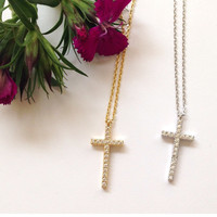 1 Crystal Cross Necklace #L13