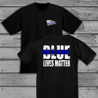 Police Officer Thin Blue Line Tattered American Flag Blue Lives Matter Quote Two Toned Baseball, V-Neck or Scoop Neck T-Shirt