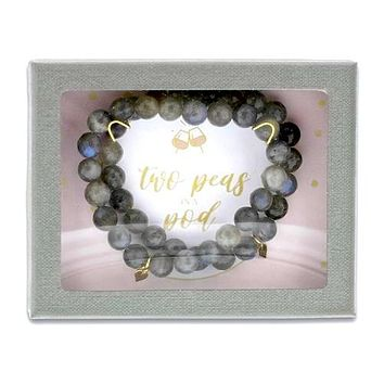 Gift Set of 2 'Two Peas in a Pod' Labradorite with Heart Bracelets