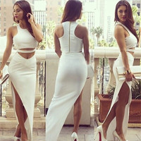 Womens Sexy Two Piece White Set Outfits Bodycon Dresses