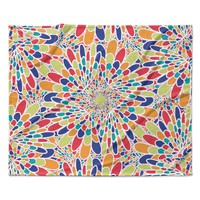 "Miranda Mol ""Flourishing Blue"" Multicolor Geometric Fleece Throw Blanket"