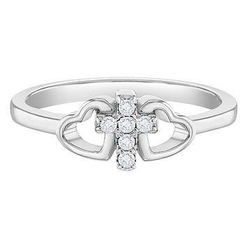 925 Sterling Silver Size 2-5 Religious Tiny Cross Cubic Zirconia Heart Ring Band for Girls