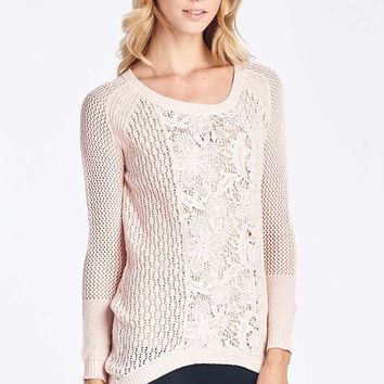 Blush Knit Sweater With Lace Center