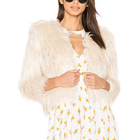 MOTHER The Boxy Faux Fur Jacket in Ivory | REVOLVE