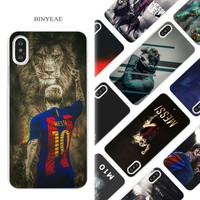 BINYEAE Lionel Messi Hard White Phone Case Cover Coque Shell for iPhone X 6 6S 7 8 Plus 5 5S SE 4 4S 5C