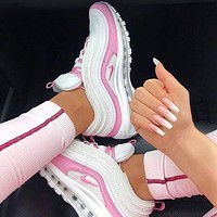 NIKE Air Max 97 Fashion Women Casual Air Cushion Sport Running Shoes Sneakers White&Pink