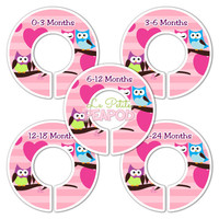 5 Custom Baby Closet Dividers - Nursery Organizers Pink and Purple Lovey Dovey Owls Baby Girl Nursery Shower Gift - Baby Clothing Dividers