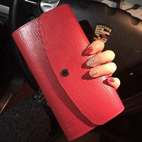"""Louis Vutitton"" Fashion Simple Cowhide Long Section Button Flip Wallet Clutch Women Genuine Leather Purse"