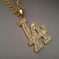 Boys & Men Fashion Hip Hop LA Letter Necklace