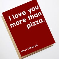 Valentine Card - I love you more than pizza PDF