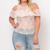 Plus Size Sheer Lace Ruffle Top - Peach