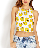 FOREVER 21 Playful Tweety Bird Crop Top White/Yellow