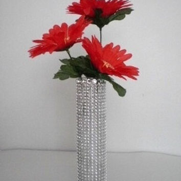 "BLING & DIAMOND WRAP Glass Bud Vase - Sparkling Bling and Silver Diamondwrap - 7 1/2"" tall"