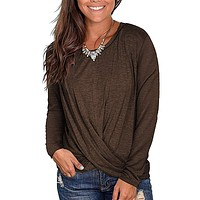 TEMOFON Women's Soft Tops Long Sleeve Round Neck T-Shirts Front Twist Casual Loose Fitted Tunic Shirts S-2XL