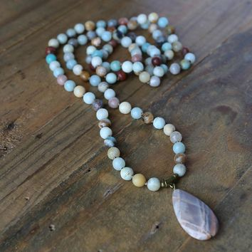 Amazonite and Sunstone Hand Knotted Mala Necklace