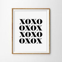XOXO Print. Hugs and Kisses. Black and White Typography Print. Modern Home Decor. Minimal Wall Art. Valentines Day Gift. Chic Decor.