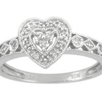10k White Gold Diamond Heart Ring (0.03 cttw, I-J Color, I2-I3 Clarity), Size 5