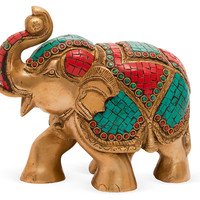 One Kings Lane - The Coffee Table - Elephant Objet, Brass and Stone