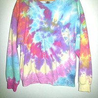 Vintage JERZEES TIE DYE Sweater Pastel Colors Long Sleeved Hippie Hipster Raver Funky Festival Psychedelic Men Women Unisex Size Large