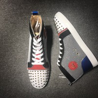DCCK Christian Louboutin high tops CL fashion casual shoes red sole for men and women sneakers 90522