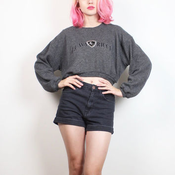 Vintage Z Cavaricci Sweatshirt 1990s Cropped Sweater Embroidered Logo 90s Belly Sweater Charcoal Gray Crop Top Jumper Sporty Tee M L Large