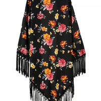 Floral Long Open Front Fringed Kimono