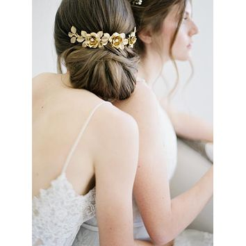 Sitting in an English Garden | Gold Bridal Chignon Hair Comb