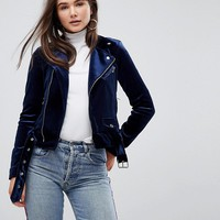 Only Velvet Biker Jacket at asos.com
