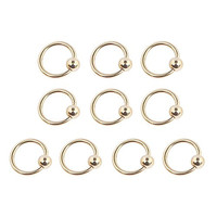 Ruifan 10PCS 316L Surgical Steel Gold Plated Captive Bead Rings Nose Belly Eyebrow Tragus Lip Ear Nipple Hoop Ring BCR 16G 6MM