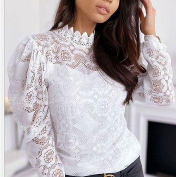 Women's new sexy see-through sleeves stand neck lace blouse