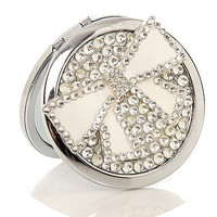Bowknot Silver Mini Pocket Double Sides Cosmetic Vintage Compact Makeup Mirror