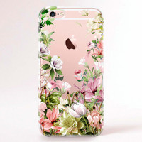 Clear Transparent iPhone 6 case, iPhone 6s case, iPhone 6 plus case, iPhone 6s plus case, iPhone 5S Case, Samsung Galaxy Case-Spring blossom