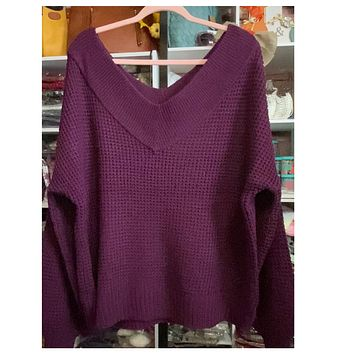 Balloon Sleeve Double V Neck Oversized Dark Plum Sweater
